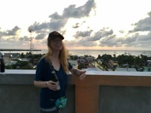 Mandy on top of the Enjoy Hotel in Caye Caulker Belize
