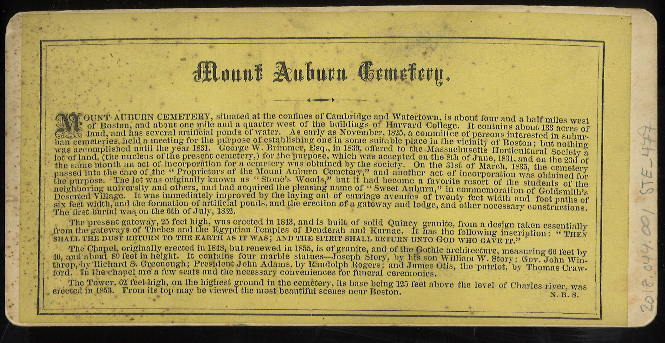 Back of stereoview with printed description on yellow paper of Mount Auburn Cemetery.