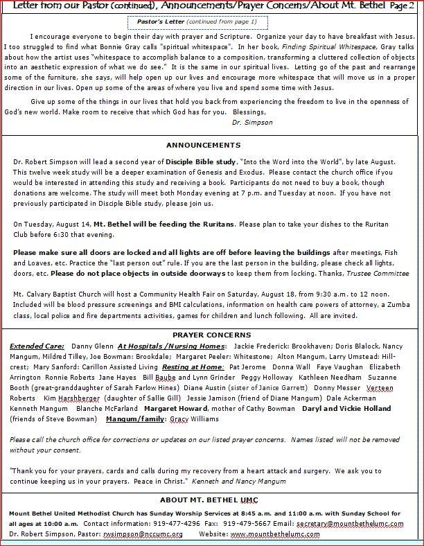 Mt  Bethel UMC newsletter for August 2018