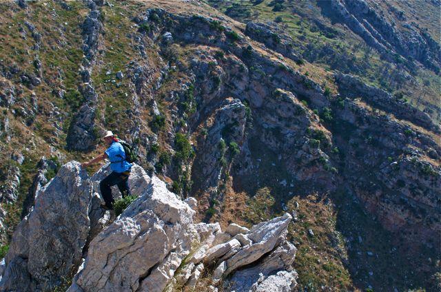 Karl Yares climbs on a fold