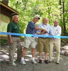 Key Contributors to the Project Left-right: Dave Fryer, College Township, Blake Gall, MNC Board Member, Willy Kogelmann, Mountain Neighbor, Gary, Gentzler, MNC Board Member.