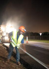Johnnie Dodds Construction - Asphalt - Construction Worker - Night