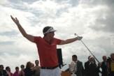 Keegan Bradley shows enthusiasm for his swing.