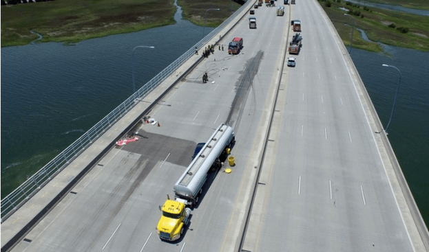 The Ravenel Bridge was closed after a tanker was involved in a collision.
