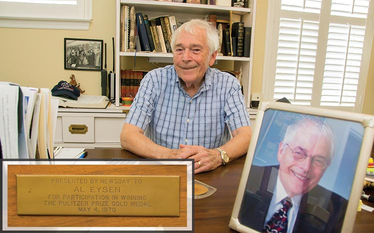 Journalist Alan Eysen. Inset - a plaque presented to Eysen from Newsday