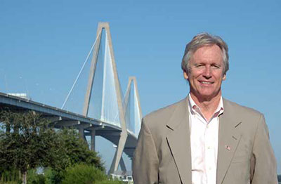 Terry Hamlin with the Ravenel Bridge in the background