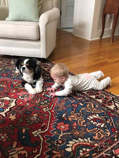 Baby Margaret with dog, Henry