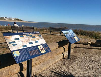 Signs at Breach Inlet tell the history of the British attack on Sullivan's Island in June 1776.