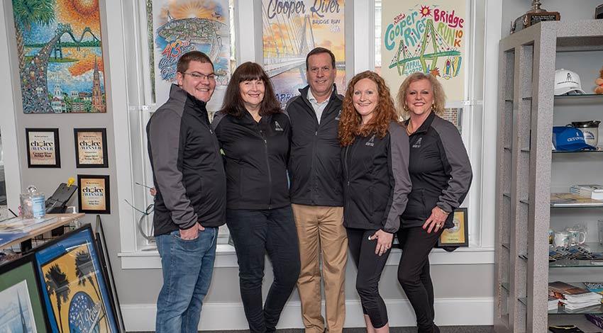 From left to right: Cooper River Bridge Run team members Mark Cellers, Marcy Krawcheck, Irv Batten, Rachel Haynie and Lorrie Warren.