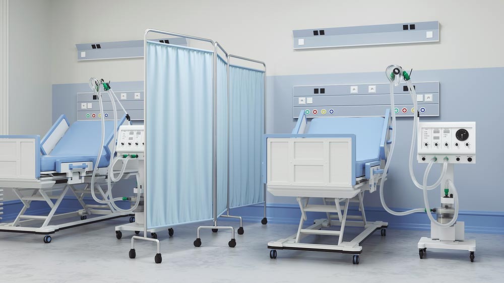 Hospital beds in an intensive care