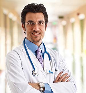 Doctor in a hospital hallway