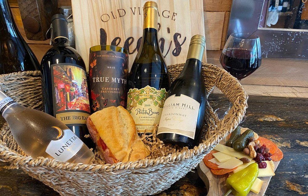 A gift basket from Leeah's Old Village Wine Shop in Mount Pleasant, South Carolina.