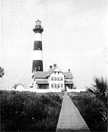 Morris Island lighthouse and lighthouse keeper residence. Photo courtesy of Save the Light, Inc.
