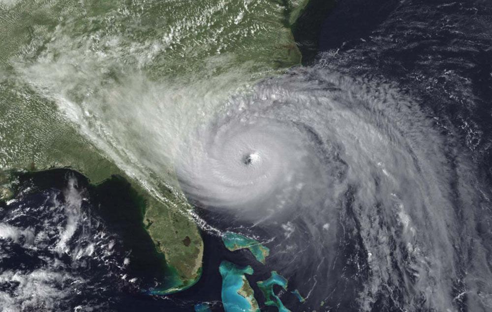 Hurricane Hugo approaches the South Carolina coast in September 1989.