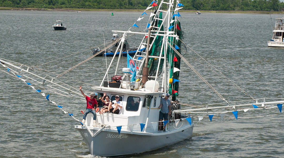 Freeman proudly debuted the Miss Kim at this year's blessing of the fleet prior to her first season of Lowcountry shrimping.