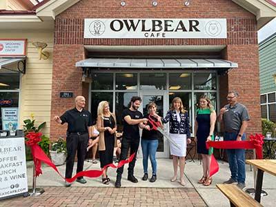 Kathy Landing at the Owl Bear Ribbon Cutting.
