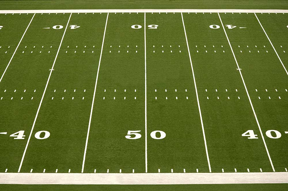 The 50 yard line of a football field