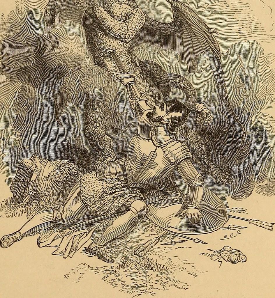 """The Pilgrim's Progress"" illustration of Christian plunging his sword into Apollyon."