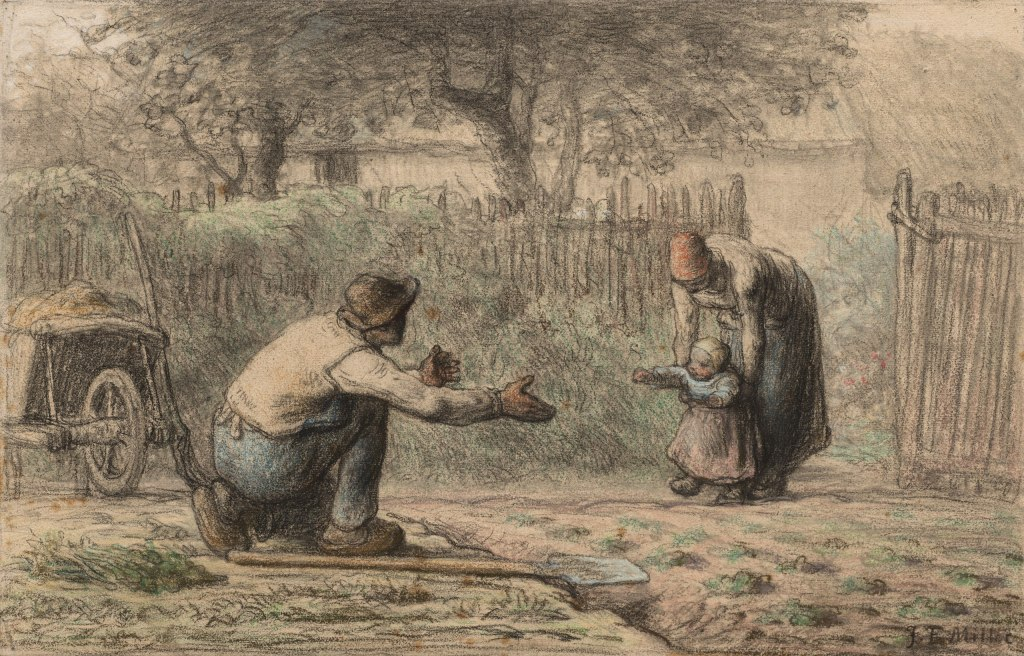 """""""First Steps"""" painting of child walking towards father by Millet."""