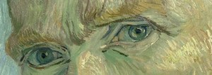 The eyes of van Gogh in his famous self-portrait painting.