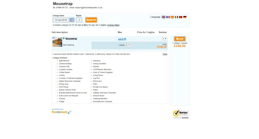 Mousetrap Online Reservations Page