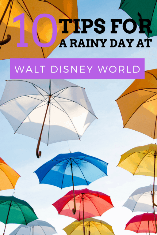 When planning a dream vacation, most people find themselves checking (and rechecking) the weather forecasts as their trip approaches. If things start to go south, all is not lost; this is how to make the most of a rainy day at Walt Disney World. #disneycrowds #disneyweather #waltdisneyworld #wdw #disneytips #disney #umbrella #disneyvacations #disneyworld #mickeymouse #minniemouse #floridarain #summerrain #singingintherain