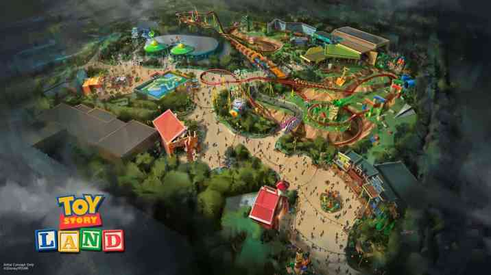 Aug 16, 2015. Toy Story Land concept art August 2015. Copyright 2015 The Walt Disney Company.