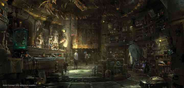 Concept art of Dok-Ondar's Den of Antiquities, home of rare Jedi artifacts and more. (Disney Parks)