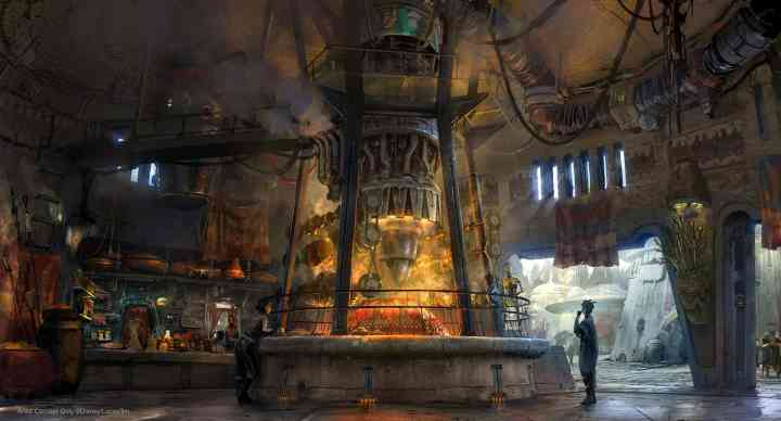 Concept art of Ronto Roasters, featuring meats spit-roasted over a former podracer engine. (Disney Parks)