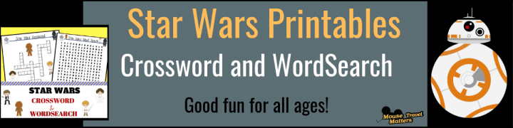 DISNEY'S STAR WARS Printables; Crossword and wordsearch for all ages