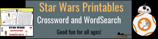 Disney Star Wars printable; crossword and word search for all ages