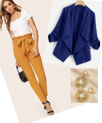 Outfit Azul y Mostaza combinación de colores