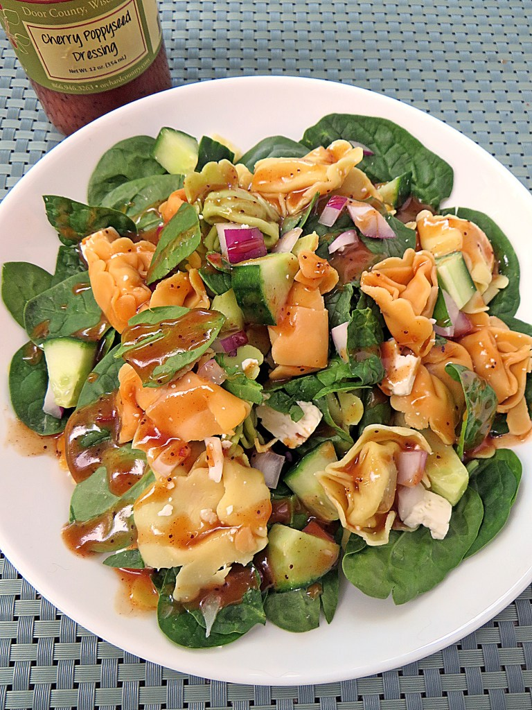 Spinach and Tortellini Pasta Salad at Mouth Half Full