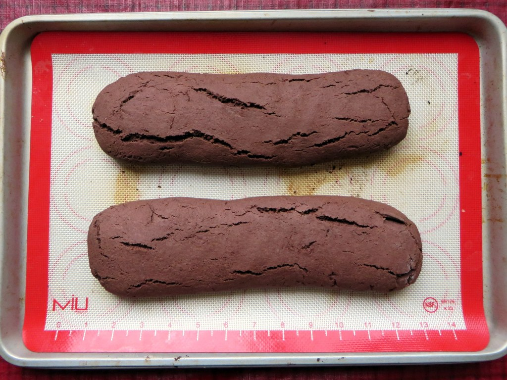 Chocolate Peppermint Biscotti Step 1 - recipe at Mouth Half Full