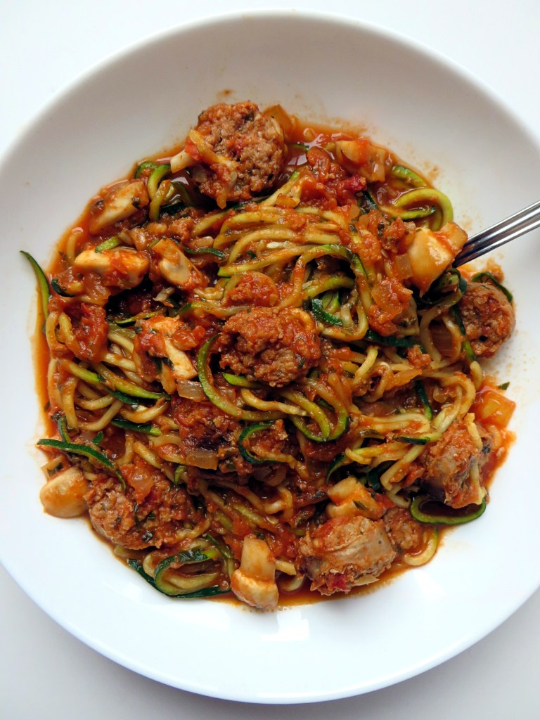 Zoodles with Chicken Sausage and Mushrooms - recipe at mouthhalffull.com