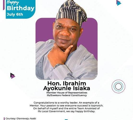Reps Deputy Minority Whip, Adekoya felicitates Ibrahim Isiaka on birthday