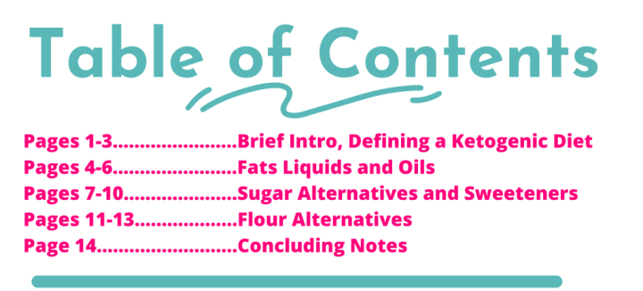 table of contents substitution guide keto