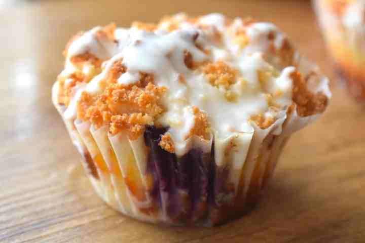 keto glazed lemon blueberry muffins