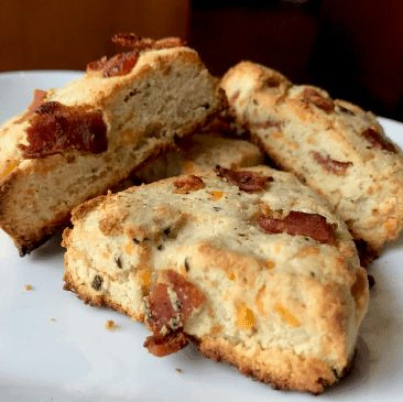 Keto Bacon Cheddar Onion Scones