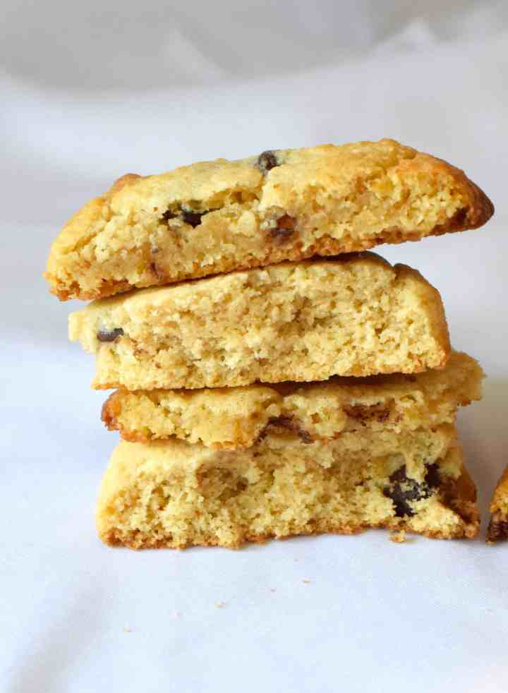 keto chocolate chip cookies stacked