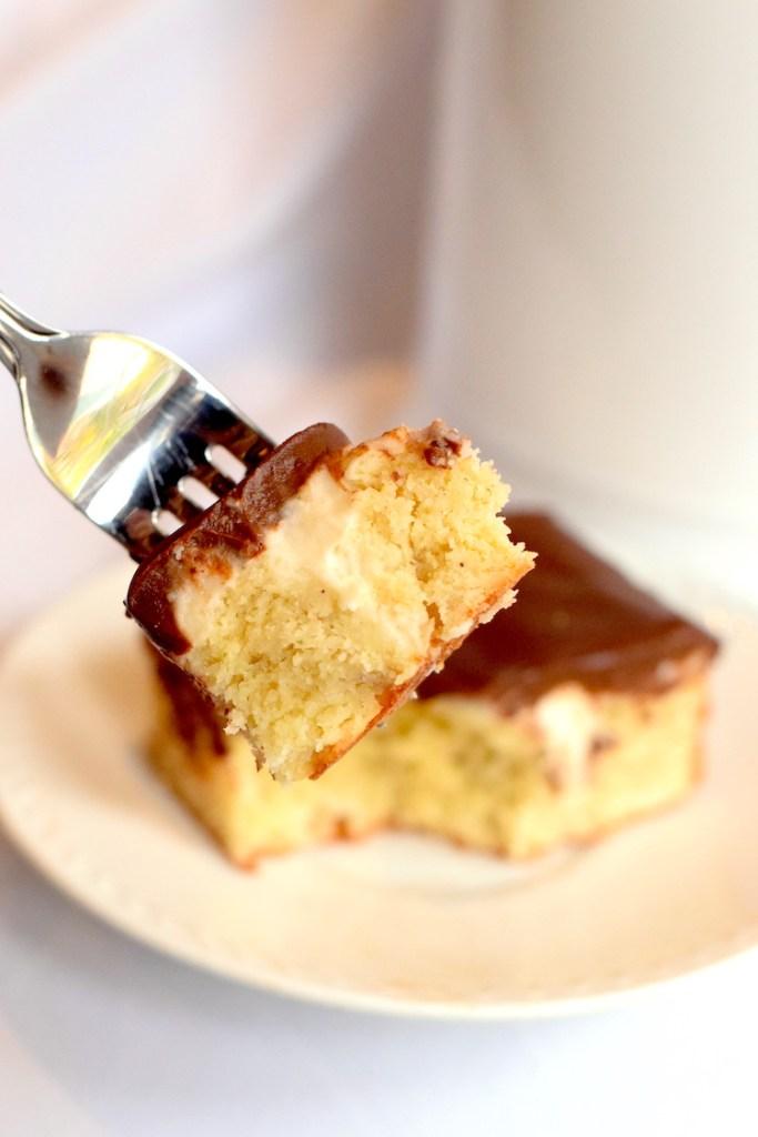 keto boston cream poke cake