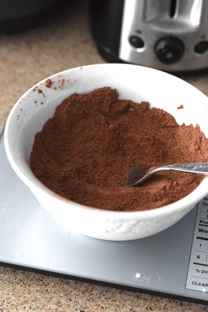cocoa powder, almond flour, coconut