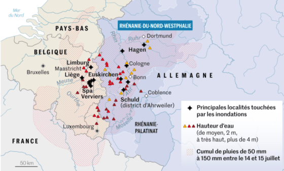 Cartes inondations 2021 Allemagne