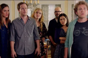 "Erinn Hayes, Julia Stiles, David Cross, America Ferrera, Jeff Grace in ""It's a Disaster"""