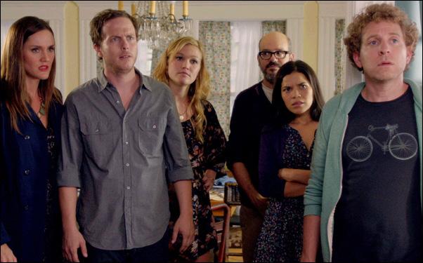 """Erinn Hayes, Julia Stiles, David Cross, America Ferrera, Jeff Grace in """"It's a Disaster"""""""