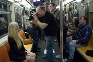 Louie CK filming an episode of Louie with cinematographer Paul Koestner