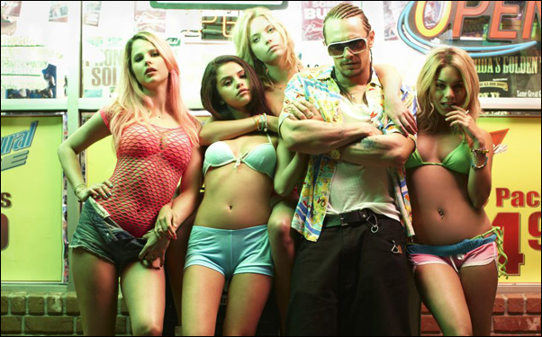 "Rachel Korine, Selena Gomez, Ashley Benson, James Franco and Vanessa Hudgens in Harmony Korine's film ""Spring Breakers"""