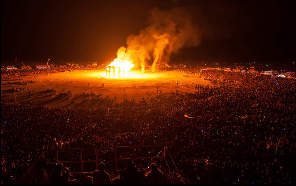 The effigy burning in a scene from Steve Brown and Jessie Deeter's documentary Spark: A Burning Man Story