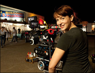 "Diablo Cody on the set of her directorial debut ""Paradise"""