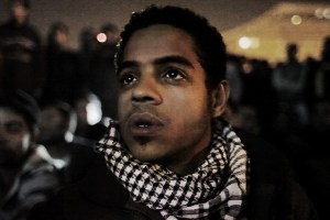 "Ahmed Hassan in Tahrir Square in a scene from Jehane Noujaim's ""The Square"""